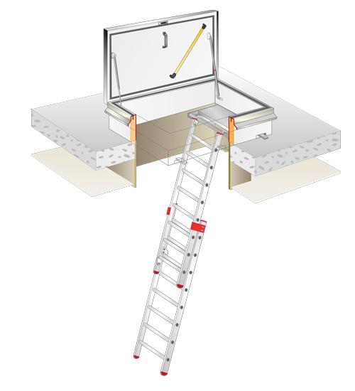 Lucernario tetto e botole con scale tipologie e utilizzi for Piani di casa tetto in metallo