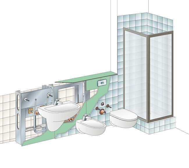 Bagno in cartongesso senza rompere rifare casa - Pareti bagno senza piastrelle ...