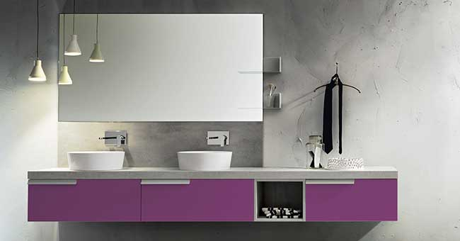 Come scegliere il colore del bagno con cerasa rifare casa - Mobile bagno viola ...