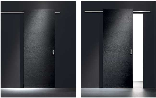Porte-scorrevoli-esterno-muro-nera - Rifare Casa