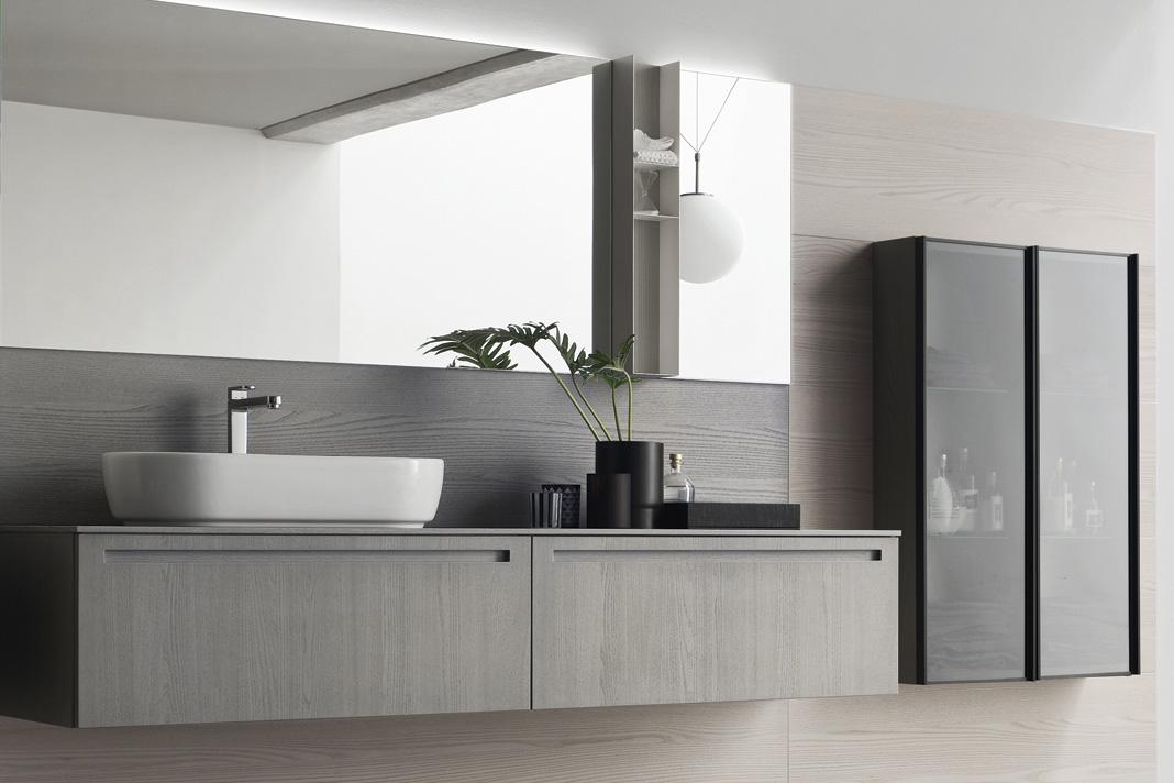 Mobili in olmo per il bagno il modello rush di arcom for Mobili per arredare il bagno