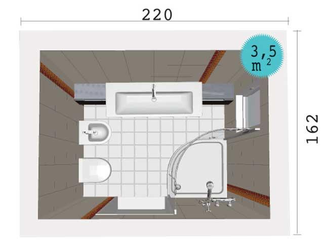 l La doccia ad angolo tra porta e finestra permette di occupare la parete frontale con un ampio top che incorpora il lavabo, mentre sull'altra parete corta trovano posto vasi di misure standard.