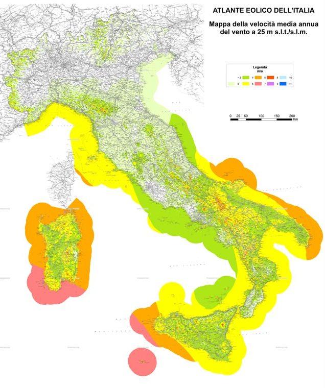 mappa vento italia